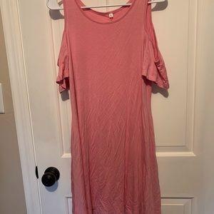 Women's cold shoulder cotton dress